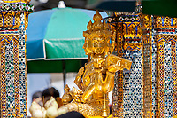 Bangkok, Thailand.  Hindu Lord Brahma in the Erawan Shrine.