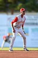 Brooklyn Cyclones shortstop Amed Rosario (1) during a game against the Batavia Muckdogs on August 9, 2014 at Dwyer Stadium in Batavia, New York.  Batavia defeated Brooklyn 4-2.  (Mike Janes/Four Seam Images)