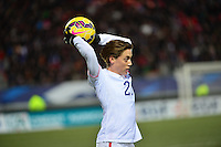 Lorient, France. - Sunday, February 8, 2015:  Meghan Klingenberg (25) of the USWNT. France defeated the USWNT 2-0 during an international friendly at the Stade du Moustoir.
