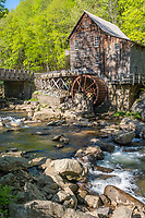 Glade Creek Grist Mill, Babcock State Park, West Virginia, Early Summer.  Reassembled in 1976 from parts of old grist mills from around the state.