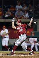 Cameron Frost (35) of the Washington State Cougars bats during a game against the Southern California Trojans at Dedeaux Field on March 13, 2015 in Los Angeles, California. Southern California defeated Washington State, 10-3. (Larry Goren/Four Seam Images)