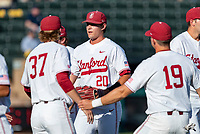 STANFORD, CA - JUNE 5: Tommy O'Rourke, Brendan Beck, Henry Gargus during a game between UC Irvine and Stanford Baseball at Sunken Diamond on June 5, 2021 in Stanford, California.