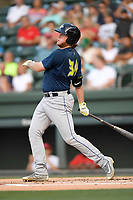 First baseman Dash Winningham (34) of the Columbia Fireflies bats in a game against the Greenville Drive on Thursday, June 15, 2017, at Fluor Field at the West End in Greenville, South Carolina. Columbia won, 7-2. (Tom Priddy/Four Seam Images)