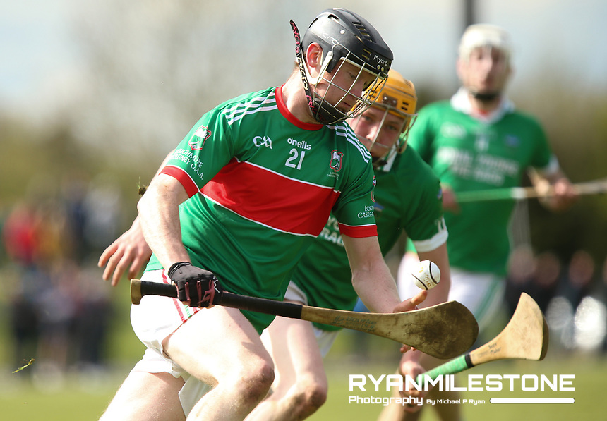Joseph Nyland of Loughmore/Castleiney in action against Joey Maher of Drom Inch during the Centenary Agri Mid Senior Hurling Championship Quarter Final between Loughmore/Castleiney and Drom Inch on Saturday 28th April 2018 at Templetuohy, Co Tipperary, Photo By Michael P Ryan