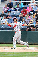 Tyler Sanchez (31) of the Spokane Indians bats during a game against the Everett AquaSox at Everett Memorial Stadium on July 24, 2015 in Everett, Washington. Everett defeated Spokane, 8-6. (Larry Goren/Four Seam Images)