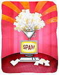 Close-up of spam mails with desktop PC