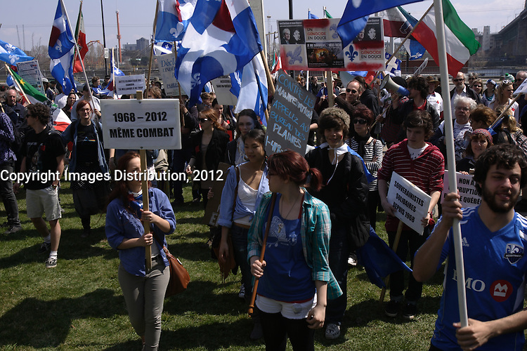 Montreal (QC) CANADA - April 15 2012 - Quebec students on strike againt tuition fee increase protest near the Jacques-Cartier bridge