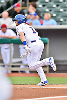 Tennessee Smokies designated hitter Ian Happ (1) runs to first during a game against the Jackson Generals at Smokies Stadium on July 5, 2016 in Kodak, Tennessee. The Generals defeated the Smokies 6-4. (Tony Farlow/Four Seam Images)