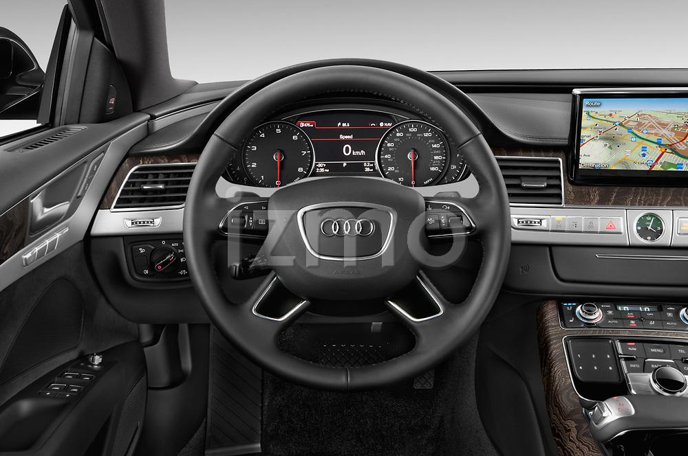 Car pictures of steering wheel view of a 2015 Audi A8 3.0T SWB quattro tiptronic 4 Door Sedan