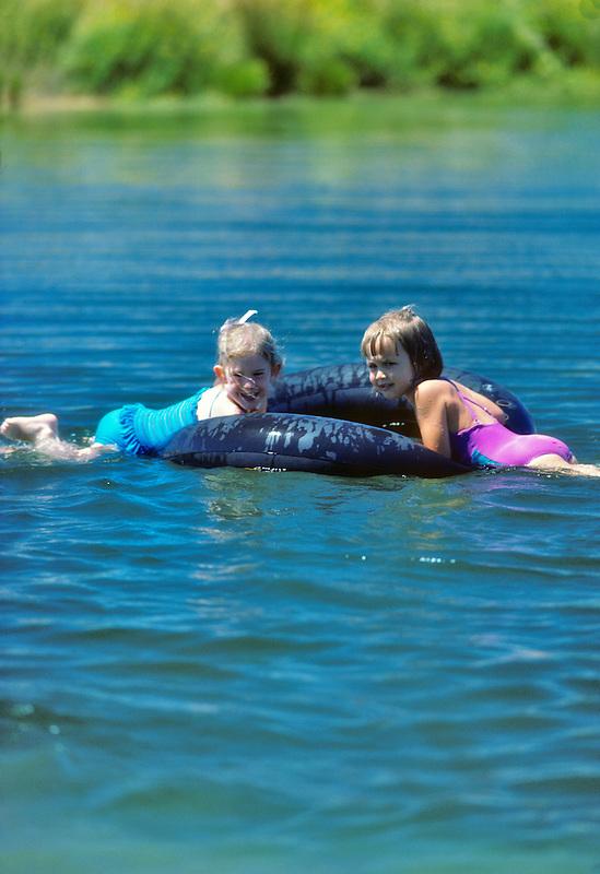Kids on pond. Monroe, Oregon.