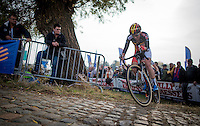 Sanne Cant (BEL/Enertherm-Beobank) not having a good day on the bike (she will ultimately finish 5th more than 2 minutes down on the race winner)<br /> <br /> 25th Koppenbergcross 2016