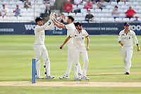 David Payne of Gloucestershire celebrates with his team mates after taking the wicket of Paul Walter during Essex CCC vs Gloucestershire CCC, LV Insurance County Championship Division 2 Cricket at The Cloudfm County Ground on 6th September 2021