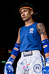 Wong Kim Nam (Blue) of Hong Kong enters to the ring prior the male muay 60KG division weight bout against Hsueh You Sheng (Not in picture) of Taiwan during the East Asian Muaythai Championships 2017 at the Queen Elizabeth Stadium on 11 August 2017, in Hong Kong, China. Photo by Yu Chun Christopher Wong / Power Sport Images