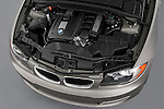 Engine detail from a high angle overhead view on a 2007 - 2011 BMW 1-Series 128i convertible.