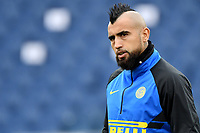 Arturo Vidal of FC Internazionale looks on during the warm up prior to the during the Serie A football match between AS Roma and FC Internazionale at Olimpico stadium in Roma (Italy), January 10th, 2021. Photo Andrea Staccioli / Insidefoto