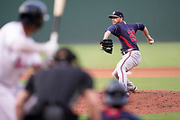 Starting pitcher A.J. Puckett (20) of the Rome Braves in a game against the Greenville Drive on Tuesday, August 3, 2021, at Fluor Field at the West End in Greenville, South Carolina. (Tom Priddy/Four Seam Images)