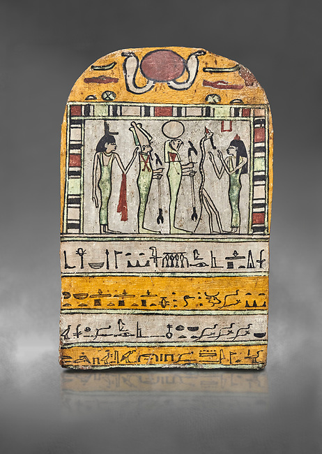"Ancient Egyptian stele dedicated to Osiris by Neskhonsu,  Late Period, 25th Dynasty, (722-664 BC), Thebes, Cat 1596. Egyptian Museum, Turin. Grey background.<br /> <br /> The round topped stele dedicated by Osiris to Neskhonsu, daaughter of Nespernebu, ""gogs father"" of Amon. Gifted by the Cairo Museum"