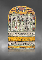 """Ancient Egyptian stele dedicated to Osiris by Neskhonsu,  Late Period, 25th Dynasty, (722-664 BC), Thebes, Cat 1596. Egyptian Museum, Turin. Grey background.<br /> <br /> The round topped stele dedicated by Osiris to Neskhonsu, daaughter of Nespernebu, """"gogs father"""" of Amon. Gifted by the Cairo Museum"""