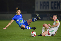 OHL's Lenie Onzia (R) with Gent's Chloe Vande Velde (L)  pictured during a female soccer game between  AA Gent Ladies and Oud Heverlee Leuven on the 9th matchday of the 2020 - 2021 season of Belgian Scooore Womens Super League , friday 11 th of December 2020  in Oostakker , Belgium . PHOTO SPORTPIX.BE | SPP | DIRK VUYLSTEKE