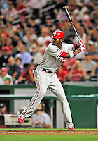 28 September 2010: Philadelphia Phillies' outfielder Domonic Brown in action against the Washington Nationals at Nationals Park in Washington, DC. The Nationals defeated the Phillies 2-1 on an Adam Dunn walk-off solo homer in the 9th inning to even up their 3-game series one game apiece. Mandatory Credit: Ed Wolfstein Photo