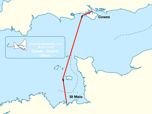 The 138nm Cowes - Dinard World Record attempt course