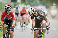 Wout Van Aert (BEL/Willems Veranda's - Crelan) checking back to see who's still around after an effort and finding (evantual winner) Jasper de Buyst (BEL/Lotto-Soudal) right there<br /> <br /> 10th Heistse Pijl 2017
