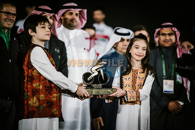 Team presentation before the start of the Saudi Tour 2020 held in Riyadh, Saudi Arabia. 3rd February 2020. <br /> Picture: ASO/Pauline Ballet   Cyclefile<br /> All photos usage must carry mandatory copyright credit (© Cyclefile   ASO/Pauline Ballet)