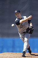 Byung-Hyun Kim of the Arizona Diamondbacks pitches during a 2002 MLB season game against the Los Angeles Dodgers at Dodger Stadium, in Los Angeles, California. (Larry Goren/Four Seam Images)
