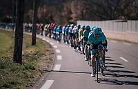 Team Astana leading the peloton<br /> <br /> 76th Paris-Nice 2018<br /> stage 6: Sisteron > Vence (198km)