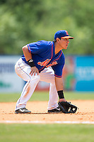 Kingsport Mets third baseman Luis Ortega (24) on defense against the Greeneville Astros at Hunter Wright Stadium on July 7, 2015 in Kingsport, Tennessee.  The Mets defeated the Astros 6-4. (Brian Westerholt/Four Seam Images)