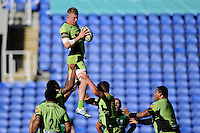 James Craig of Northampton Saints in lineout action during the Premiership Rugby match between London Irish and Northampton Saints at the Madejski Stadium on Saturday 4th October 2014 (Photo by Rob Munro)