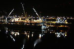 The Swan Island port facility on Oregon's Willamette River, seen at night.