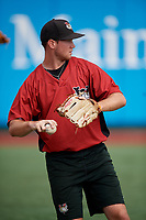 Tri-City ValleyCats Michael Horrell (44) during warmups before a NY-Penn League game against the Brooklyn Cyclones on August 17, 2019 at MCU Park in Brooklyn, New York.  Brooklyn defeated Tri-City 2-1.  (Mike Janes/Four Seam Images)