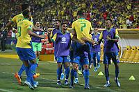 BUCARAMANGA - COLOMBIA, 09-02-2020: Paulinho Paulo Sampaio (#7) de Brasil celebra después de anotar el primer gol de su equipo durante partido entre Argentina U-23 y Brasil U-23 por el cuadrangular final como parte del torneo CONMEBOL Preolímpico Colombia 2020 jugado en el estadio Alfonso Lopez en Bucaramanga, Colombia. / Paulinho Paulo Sampaio (#7) of Brazil celebrates after scoring the first goal of his team during match between Argentina U-23 and Brazil U-23 for for the final quadrangular as part of CONMEBOL Pre-Olympic Tournament Colombia 2020 played at Alfonso Lopez stadium in Bucaramanga, Colombia. Photo: VizzorImage / Jaime Moreno / Cont