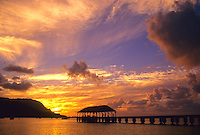 Sunset at Hanalei Pier in Hanalei Bay on the north shore of Kaua'i.