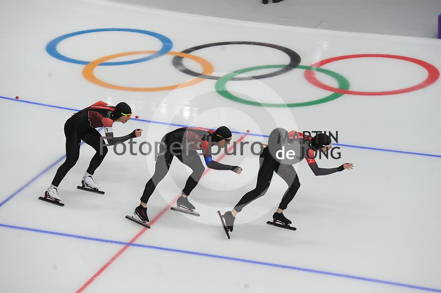 OLYMPIC GAMES: PYEONGCHANG: 18-02-2018, Gangneung Oval, Long Track, Team Pursuit Men, Team Canada, Jordan Belches, Ted-Jan Bloemen, Denny Morrison, ©photo Martin de Jong