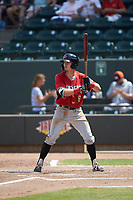 Trever Morrison (8) of the Carolina Mudcats at bat against the Winston-Salem Dash at BB&T Ballpark on August 4, 2019 in Winston-Salem, North Carolina. The Dash defeated the Mudcats 7-5. (Brian Westerholt/Four Seam Images)