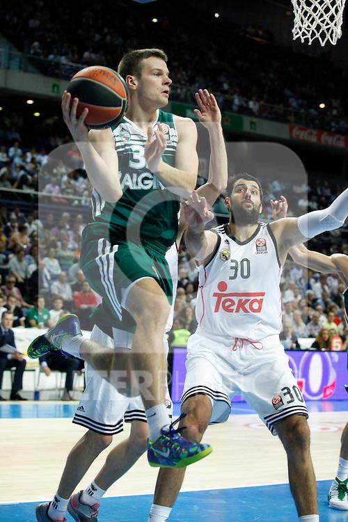 Basketball Real Madrid´s Bourousis (R) and Zalgiris Kaunas´s Dimsa during Euroleague basketball match in Madrid, Spain. October 17, 2014. (ALTERPHOTOS/Victor Blanco)
