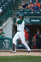Kelvin Alarcon (9) of the Fort Wayne TinCaps follows through on his swing against the Bowling Green Hot Rods at Parkview Field on August 20, 2019 in Fort Wayne, Indiana. The Hot Rods defeated the TinCaps 6-5. (Brian Westerholt/Four Seam Images)