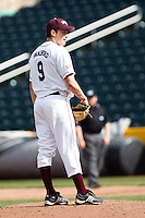 Seth Safford (9) of the Missouri State Bears during a game vs. the Western Illinois Leathernecks at Hammons Field in Springfield, Missouri;  March 20, 2011.  Photo By David Welker/Four Seam Images