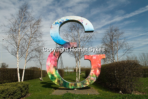 Ebbsfleet Valley Kent UK. E is the symbol of Ebbsfleet Garden City. This sculpture stands on a round about as you enter Ebbsfleet Valley.