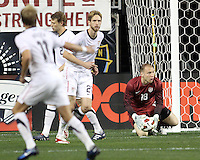Brad Guzan #18 of the USA MNT picks up the ball during an international friendly match against Colombia at PPL Park, on October 12 2010 in Chester, PA. The game ended in a 0-0 tie.