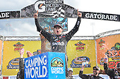 NASCAR Camping World Truck Series <br /> Texas Roadhouse 200<br /> Martinsville Speedway, Martinsville VA USA<br /> Saturday 28 October 2017<br /> Noah Gragson, Switch Toyota Tundra, celebrates after winning the Texas Roadhouse 200 at Martinsville.<br /> World Copyright: John K Harrelson/LAT Images