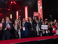 The audience awaits the entrance of the 23rd Prime Minister of Canada, the Right Honorable Justin Trudeau prior to his Keynote Address during the final day of the Liberal Biennial Convention at the RBC Convention Centre Saturday May 28, 2016 in Winnipeg.<br /> (David Lipnowski / Agence Québec Presse)