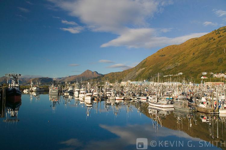 St. Paul Harbor and Chiniak bay, sunrise, fall, Kodiak Alaska, USA
