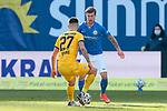 20.02.2021, xtgx, Fussball 3. Liga, FC Hansa Rostock - SV Waldhof Mannheim, v.l. Gerrit Gohlke (Mannheim, 27), Philip Tuerpitz (Rostock)<br /> <br /> (DFL/DFB REGULATIONS PROHIBIT ANY USE OF PHOTOGRAPHS as IMAGE SEQUENCES and/or QUASI-VIDEO)<br /> <br /> Foto © PIX-Sportfotos *** Foto ist honorarpflichtig! *** Auf Anfrage in hoeherer Qualitaet/Aufloesung. Belegexemplar erbeten. Veroeffentlichung ausschliesslich fuer journalistisch-publizistische Zwecke. For editorial use only.