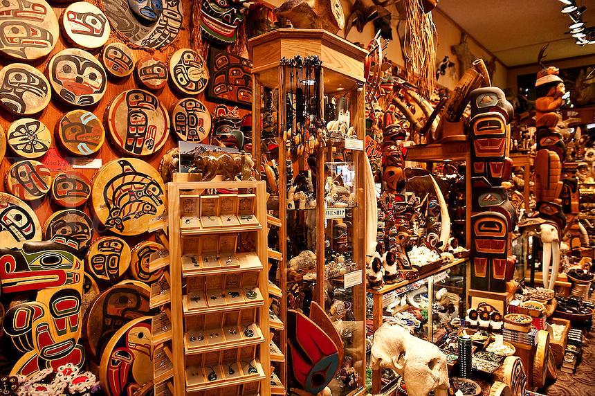 Indiginous crafts and souviniers in a shop, Juneau, Alaska, USA