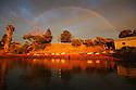 Rainbow at dawn. Stenross slipway Port Lincoln.