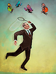 Business employer with butterfly net catching executives representing the concept of recruitment selection