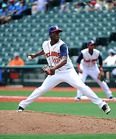 Brooklyn Cyclones pitcher Akeel Morris (12) during game against the Lowell Spinners at MCU Park on July 9, 2013 in Brooklyn, NY.  Lowell defeated Brooklyn 5-2.  (Tomasso DeRosa/Four Seam Images)